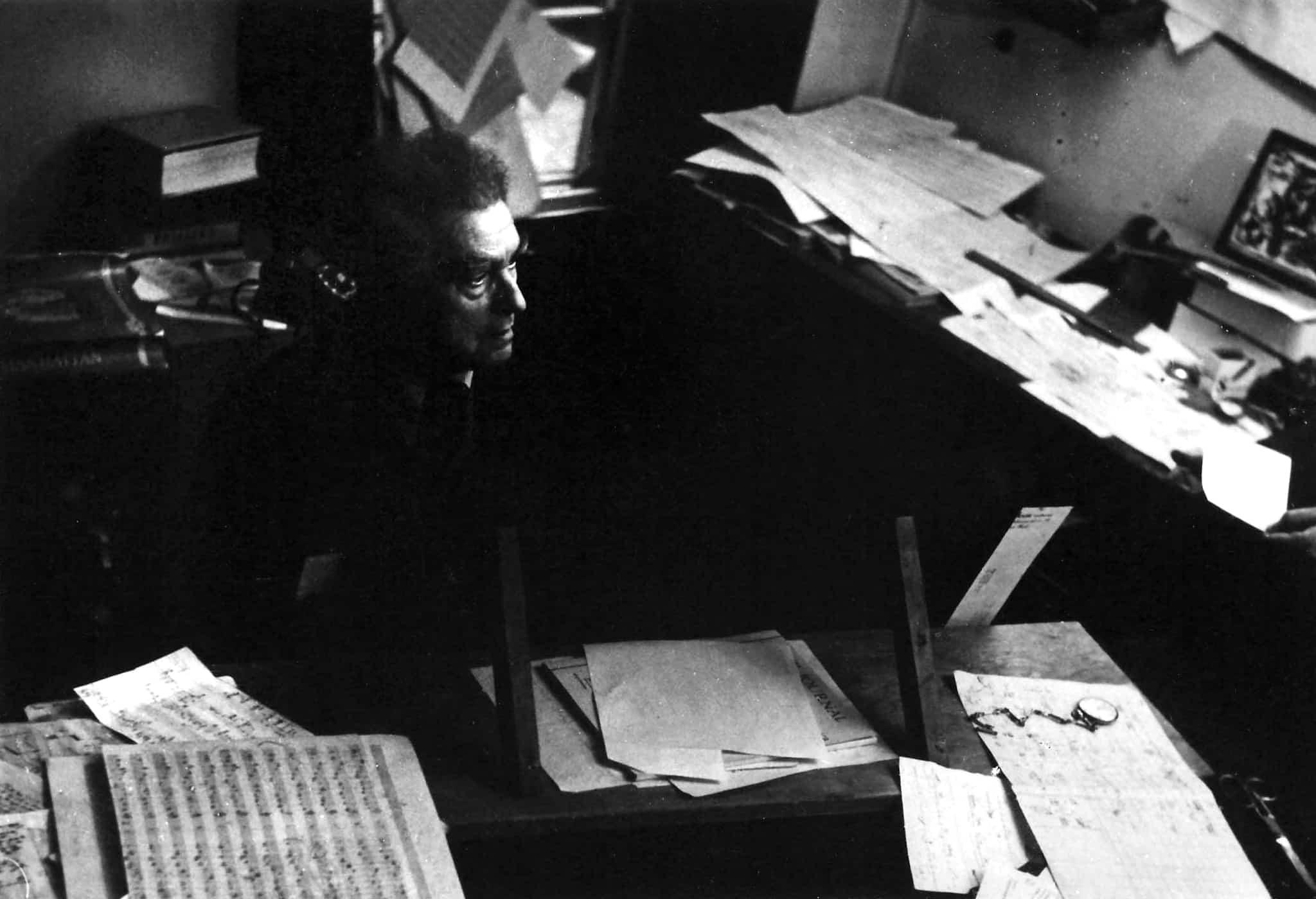 Edgard Varèse in his studio, New York City.