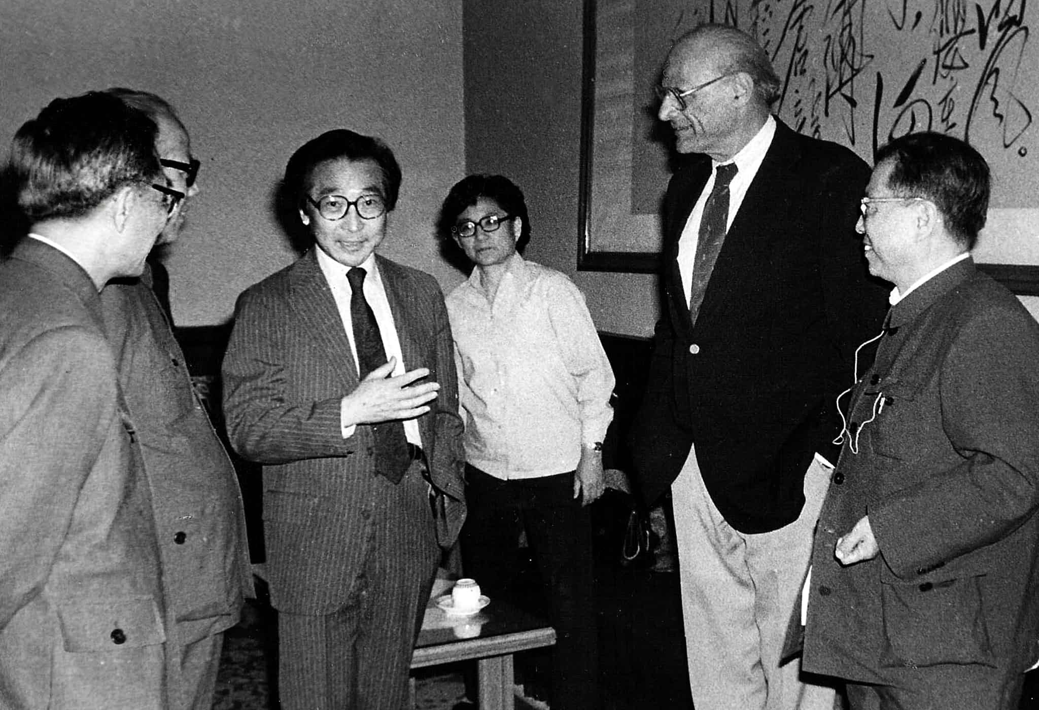 "Chou Wen-chung with Arthur Miller at the opening of ""Death of a Salesman,"" Beijing, 1984."