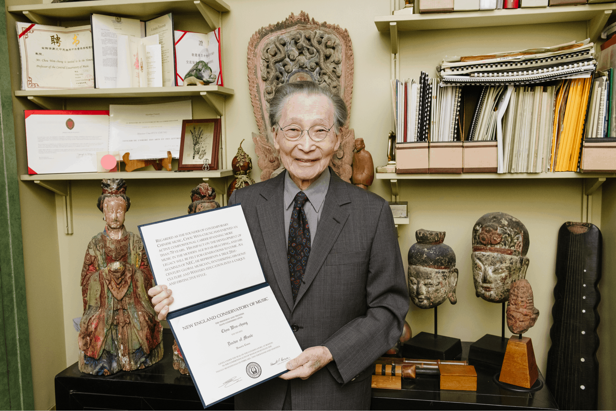 Chou Wen-chung with honorary doctorate (Photo by Fadi Kheir, on behalf of New England Conservatory)