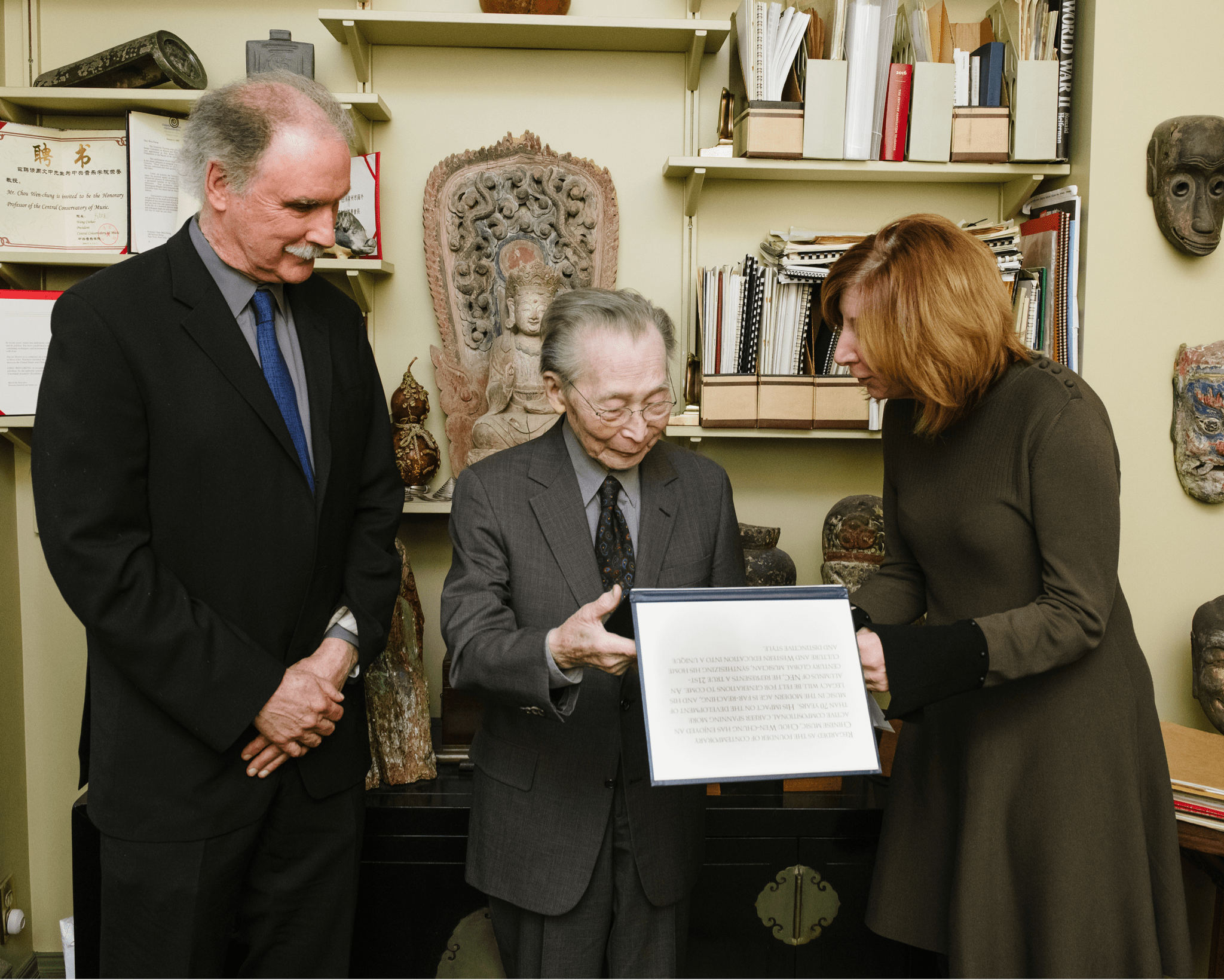 Prof. Donald Palma, Chou Wen-chung and NEC President Kalyn (Photo by Fadi Kheir, on behalf of New England Conservatory).